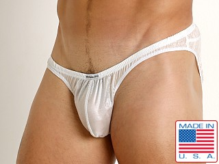 Model in white Rick Majors Ripstop Wet Look Briefs