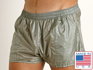 Model in steel Rick Majors Ripstop Wet Look Shorts