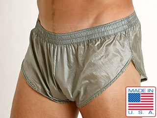 Model in steel Rick Majors Ripstop Wet Look Split Shorts