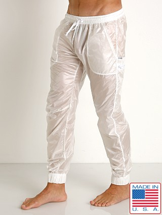 Model in white Rick Majors Ripstop Wet Look Cargo Pants