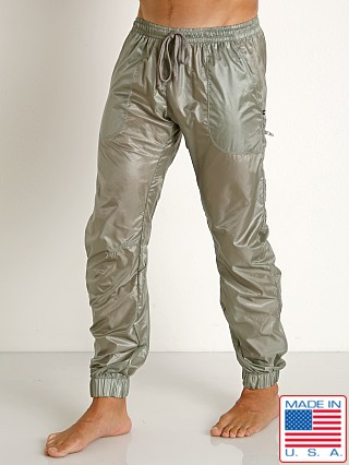 Model in steel Rick Majors Ripstop Wet Look Cargo Pants