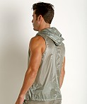 Rick Majors Ripstop Wet Look Sleeveless Hoodie Steel, view 4
