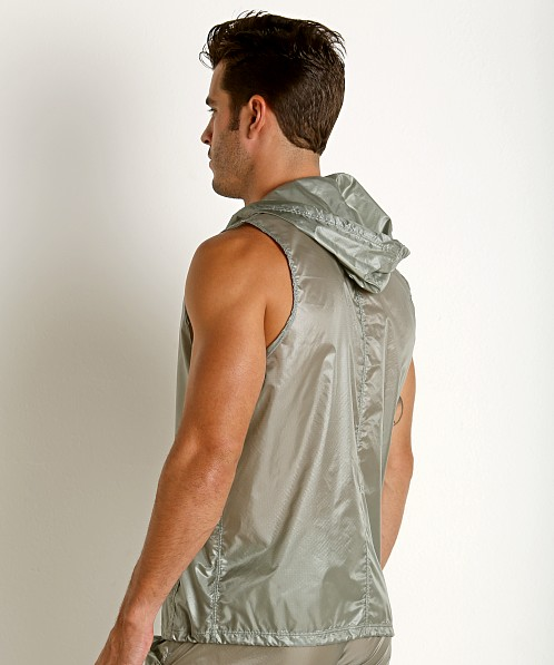 Rick Majors Ripstop Wet Look Sleeveless Hoodie Steel