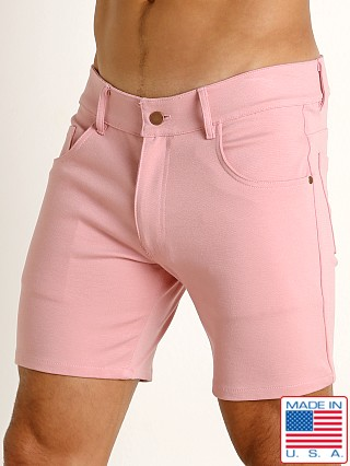 Model in dusty rose Rick Majors Stretch Jersey 5-Pocket Shorts