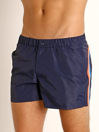 "Model in dark blue #7 Sundek 13"" Elastic Waistband Surf Trunk"