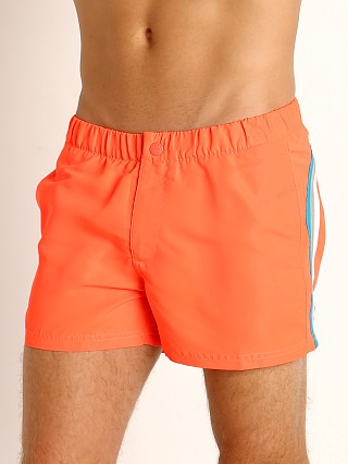 "Model in fluo orange #9 Sundek 13"" Elastic Waistband Surf Trunk"