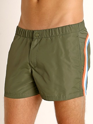 "Sundek 13"" Elastic Waistband Surf Trunk Dark Army #7"