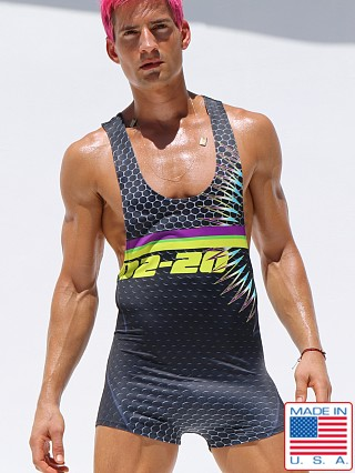Model in multicolor Rufskin Seismic UltraSport Custom Printed Singlet