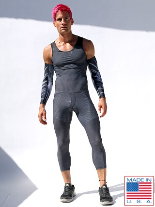 Model in grey Rufskin Magma UltraSport Perforated Bodysuit