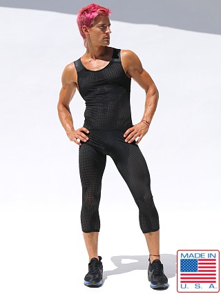 Model in black Rufskin Magma UltraSport Perforated Bodysuit