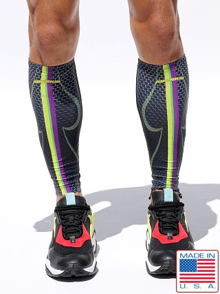 Model in multicolor Rufskin 101 UltraSport Custom Printed Calf Sleeves