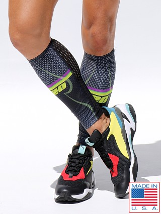Model in multicolor Rufskin 102 UltraSport Custom Printed Calf Sleeves