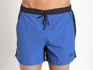 Model in royal Hugo Boss Snapper Swim Shorts