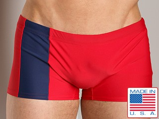 Model in red/navy Go Softwear Square Cut C-Ring Trunk Red