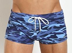 2xist Beach Camo Cabo Swim Trunk Blueberry