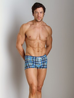 2xist Summer Plaid Cabo Swim Trunk Estate Blue