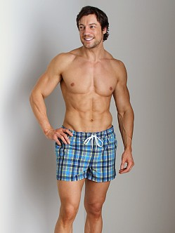 2xist Summer Plaid Ibiza Swim Shorts Estate Blue