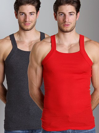 Complete the look: 2xist 2-Pack Square Cut Tank Tops Charcoal/Red
