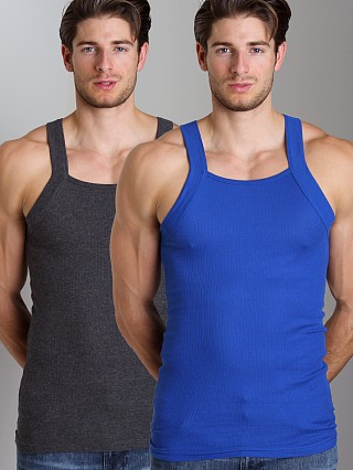Complete the look: 2xist 2-Pack Square Cut Tank Tops Charcoal/Cobalt