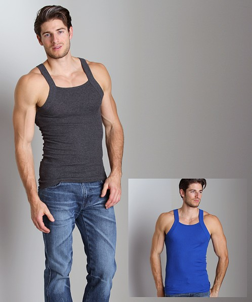 2xist 2-Pack Square Cut Tank Tops Charcoal/Cobalt