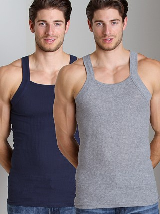 2xist 2-Pack Square Cut Tank Tops Heather/Navy