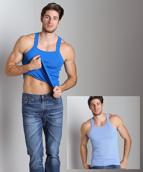 2xist 2-Pack Square Cut Tank Tops Porcelain/Skydiver