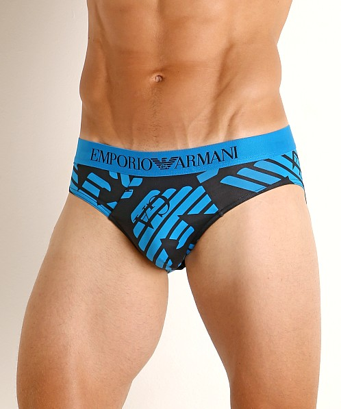Emporio Armani All Over Eagle Microfiber Brief Marine