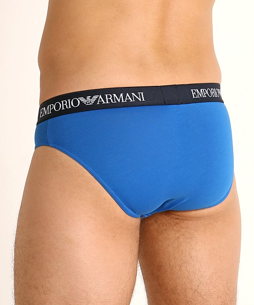 Emporio Armani Pure Cotton Briefs 3-Pack Overseas/Marine/Orange