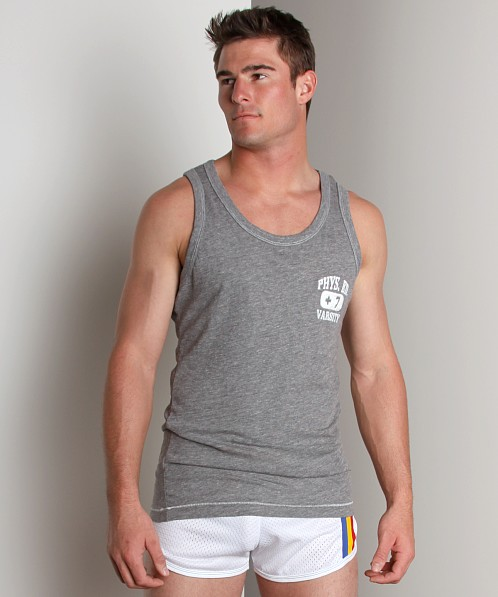 Andrew Christian Embroidered Phys Ed Tank Top Grey