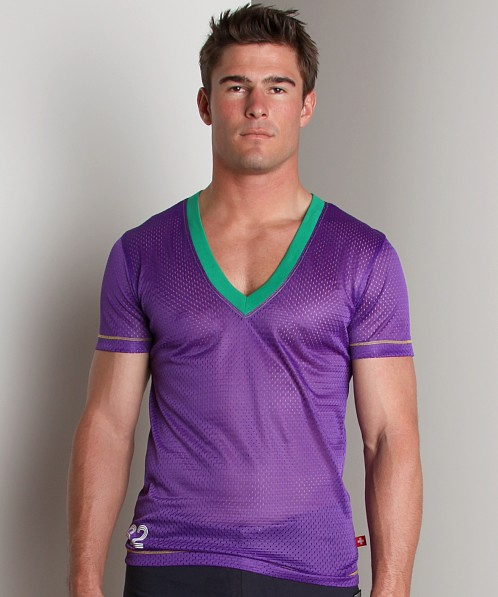 Andrew Christian Sports Mesh V-Neck Purple