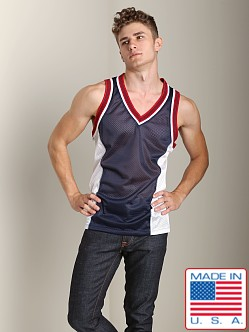 Pistol Pete Scrimmage Athletic Mesh Muscle Shirt Navy/White