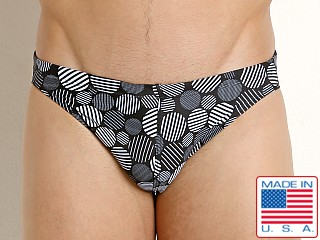 Model in black/white dots print LASC St. Tropez Low Rise Swim Brief