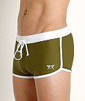 LASC American Square Cut Swim Trunks Army Olive, view 3