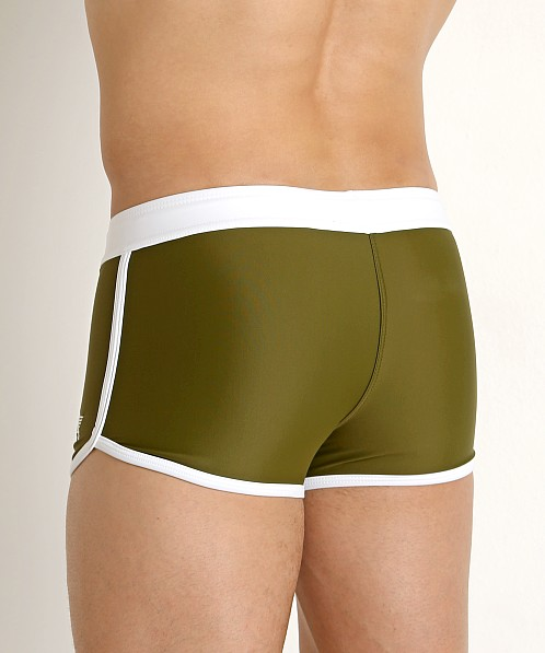 LASC American Square Cut Swim Trunks Army Olive