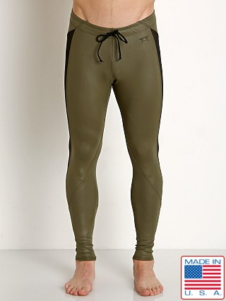 Model in olive LASC Faux Leather Tight
