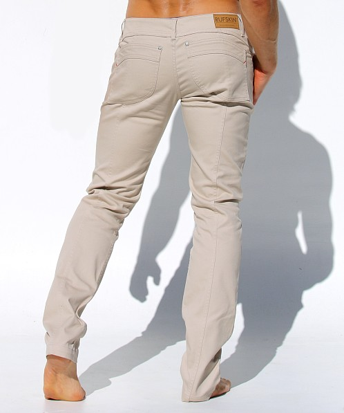 Rufskin Johnson Low-Rise Stretch Denim Jeans Sand