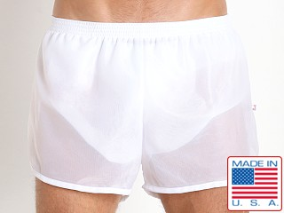 American Jock 70's Retro Featherweight Running Shorts White