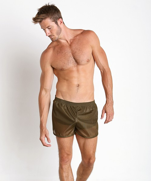 American Jock 70's Retro Featherweight Running Shorts Army