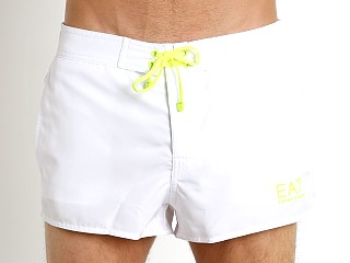 Emporio Armani Logo Graphic Swim Shorts White/Neon Yellow