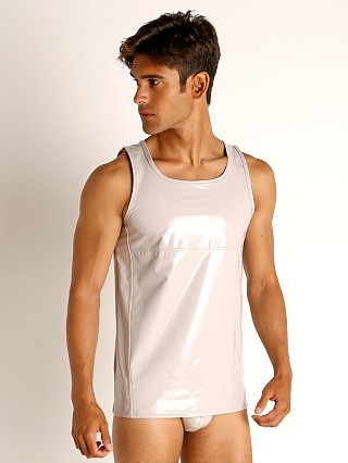 Model in taupe grey Modus Vivendi Shiny Vinyl Line Tank Top
