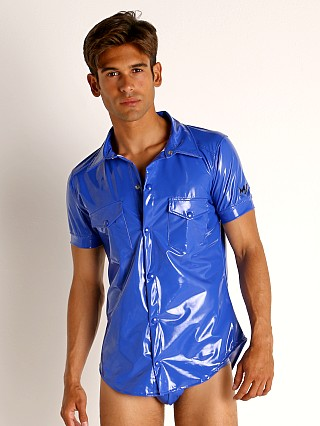 Model in blue Modus Vivendi Shiny Vinyl Line Shirt
