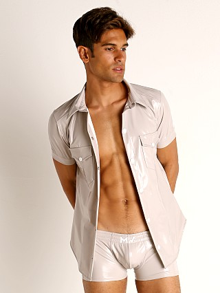 Model in taupe grey Modus Vivendi Shiny Vinyl Line Shirt