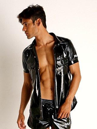 Model in black Modus Vivendi Shiny Vinyl Line Shirt