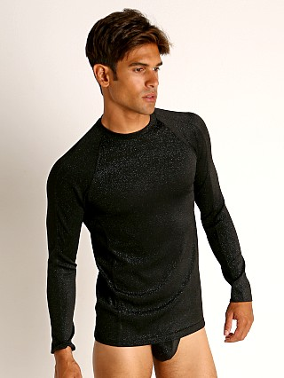 Model in black Modus Vivendi Glam Sparkle Longsleeve Shirt