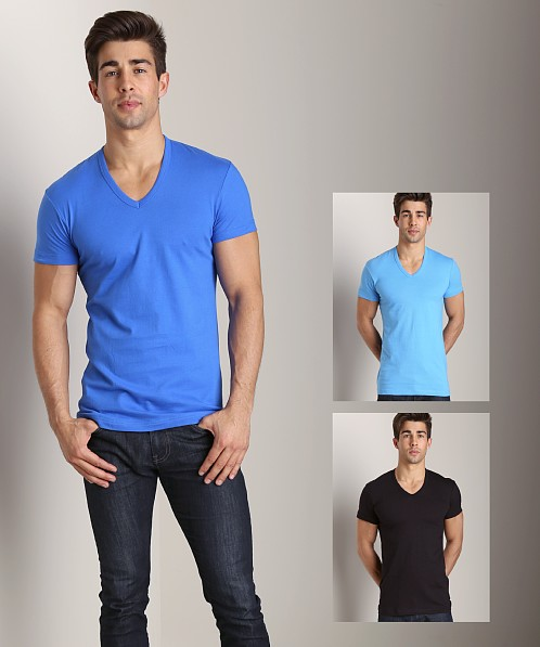 2xist 3-Pack Slim Fit V-Neck T-Shirts Black/Azure Blue/Bright Bl