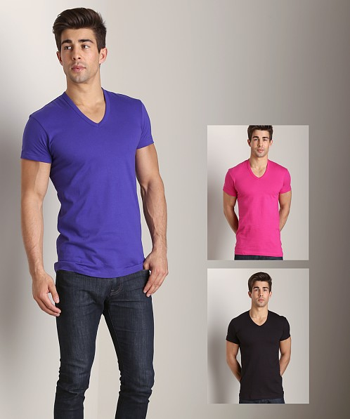 2xist 3-Pack Slim Fit V-Neck T-Shirts Black/Fuchsia/Purple