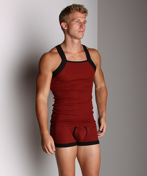 2xist Contrast Square Cut Tank Top Bordeaux