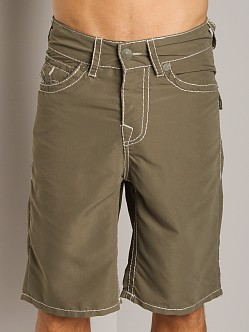 True Religion PCH Board Shorts Olive