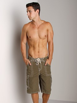 True Religion Payload Board Shorts Olive