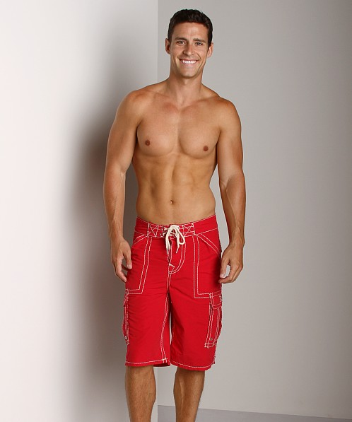 True Religion Payload Board Shorts Red